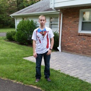 Standing outside the house before leaving